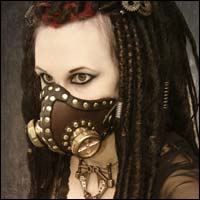 Diabolical Steampunk Leather and Brass Cyber Gas Mask