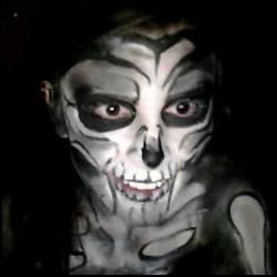 kickaz bodypaint skeleton halloween cam