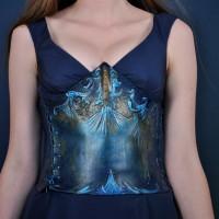 ragged edge Aqua corset