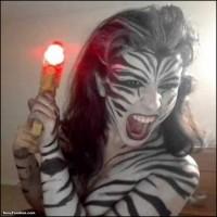 Kickaz Zebra Warrior Woman Bodypaint Raygun
