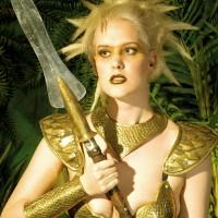 Victoria Blue as a golden spear Goddess