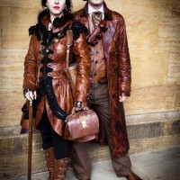 Steampunk Victorian Burlesque Costume Bespoke Leather Dress Coat by Impero London