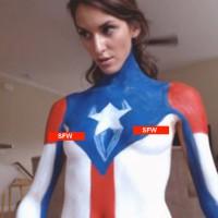Marvel Captain America Bodypaint Cosplay with MissDracman