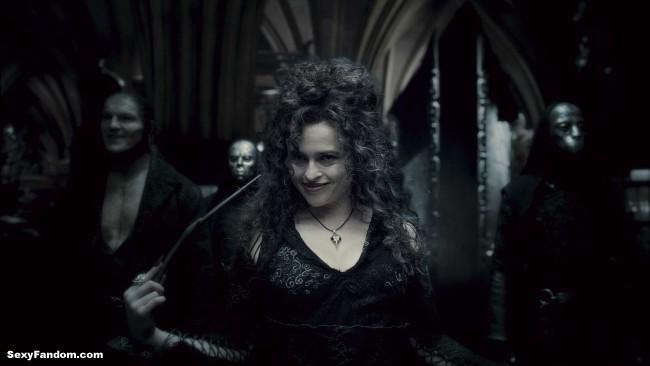 "HP6-FP-00278 DAVE LEGENO as Fenrir Greyback and HELENA BONHAM CARTER as Bellatrix Lestrange in Warner Bros. PicturesÕ fantasy adventure ÒHarry Potter and the Half-Blood Prince."""