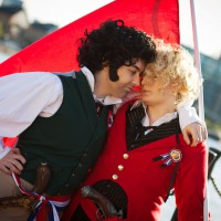Bromantic Enjolras and Grantaire Les Miserables Cosplay by GoldenMochi and XMoonLillyX