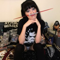 Ari Dee shows off her Star Wars swag