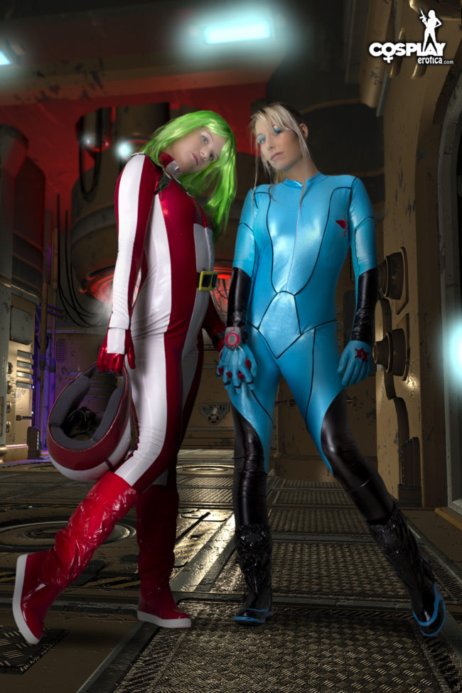 Cosplay Erotica's Ginger And Sandy Bell Face Off In An Aircraft